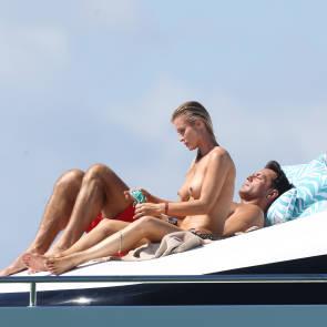 Joanna Krupa Sitting on yacht
