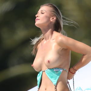 Joanna Krupa Topless Sunbathing on The Yacht