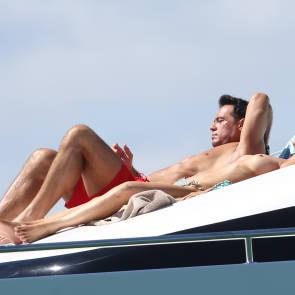 Joanna Krupa with boyfriend sunbathing