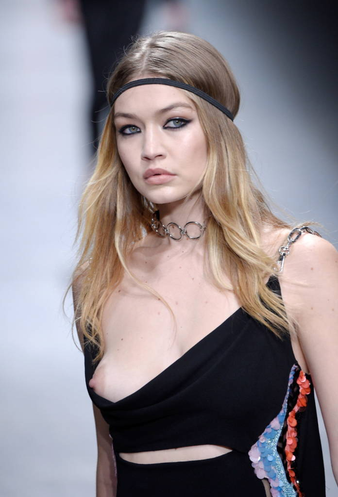 oops gigi hadid tit slip in versace show   uncensored