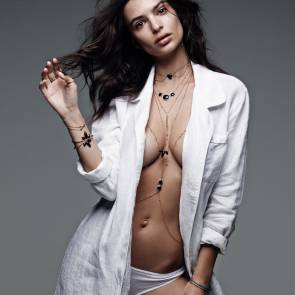 emily ratajkowski in shirt and panties