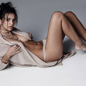 emily ratajkowski lying on flor in panties and grey shirt