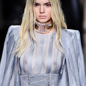 Kendall Jenner See Through Boobs at Balmian Show – Paris Fashion Week 2016