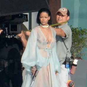rihanna braless with crew member