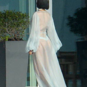 rihanna in see through dress showing thong