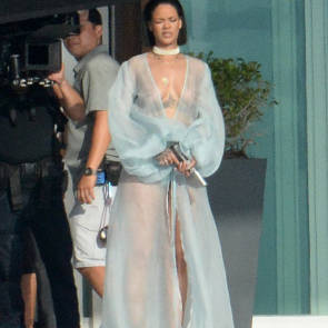 rihanna with a crew filming in malibu