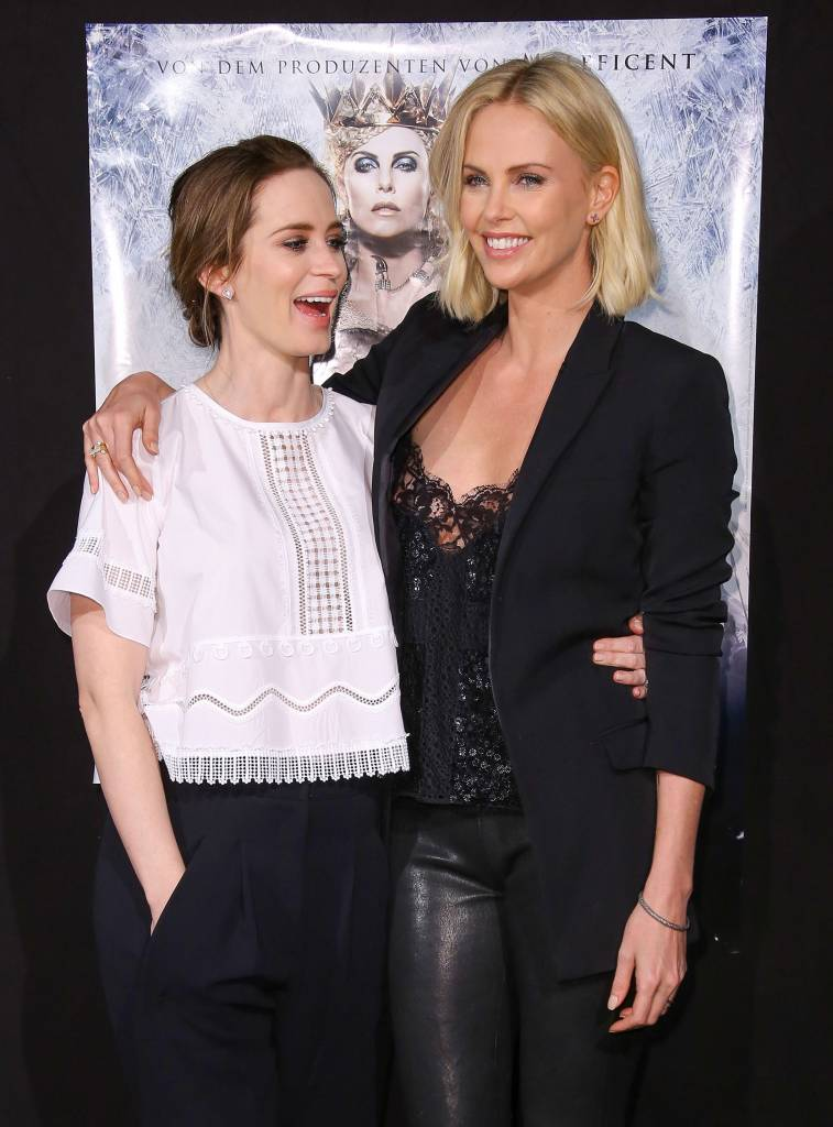 charlize theron and emily blunt on premiere of The Huntsmam Winter's War
