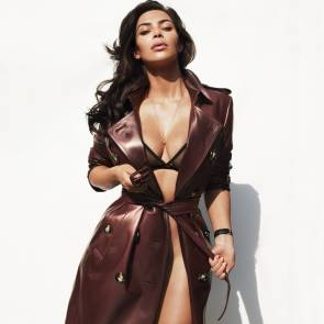 Kim kardashian in leather coat and sexy underwear