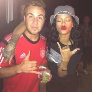 Rihanna and Mario Gotze celebrating after Germany won the match