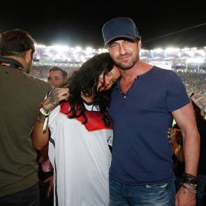 Rihanna and gerard butler on the football match of germany