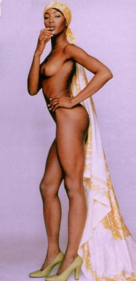 naomi campbell nude standing with only shoes and veil on