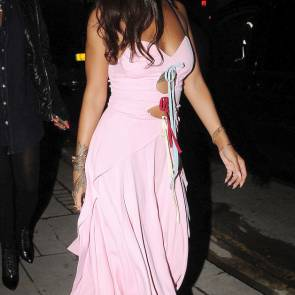 rihanna in a beautiful pink dress