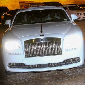 Amber Rose With Khloe Kardashians's ex in White Rolls Royce