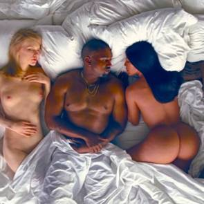 Amber Rose lying naked in Kanye West's Famous Music Video