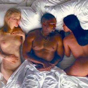 Kanye Wess lying between naked taylor swift and Kim kardashian