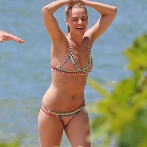 Margot Robbie In Colorful Bikini In Hawaii