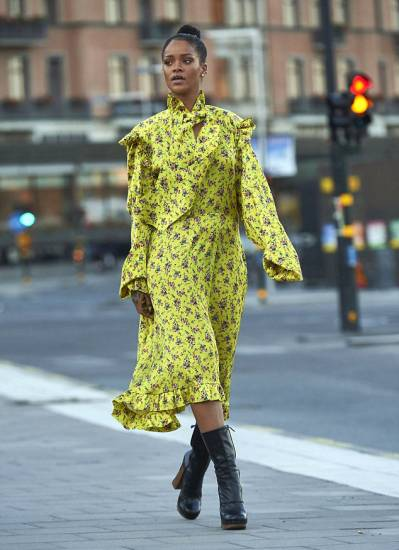 rihanna floral dress on the street