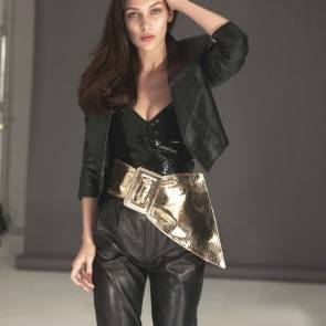 Bella Hadid In leather like outfit