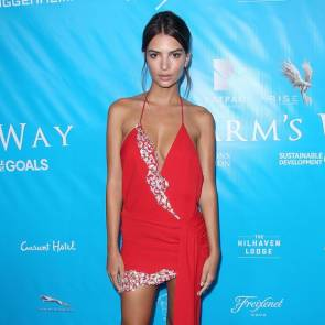 Emily Ratajkowski Posing In Red Dress FEATURED