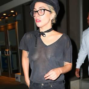 Lady Gaga Braless Close Up