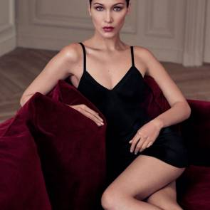 Bella Hadid in black dress