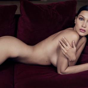 Bella Hadid nude ass on the bed for gq magazine