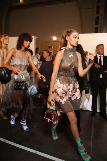 Gigi Hadid backstage on fashion week milan