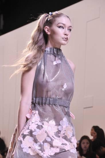Gigi Hadid nipples in see through dress