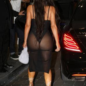 Kim Kardashian ass in see through dress