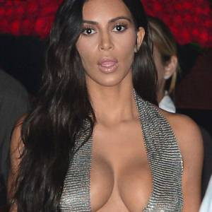 Kim Kardashian Ass And Boobs In See Through Dress
