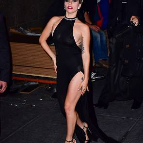 Lady Gaga walking in elegant black dress