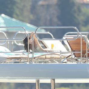 Sara Sampaio Sunbathing On Yacht