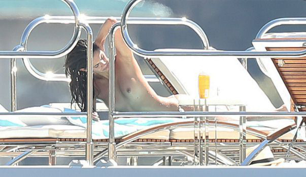 Sara Sampaio Topless On Yacht Close Up