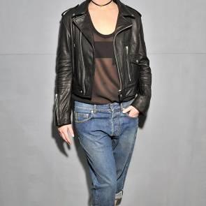 Jennifer Lawrence bra flashing through the leather jacket