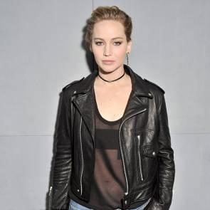 Jennifer Lawrence in leather jacket