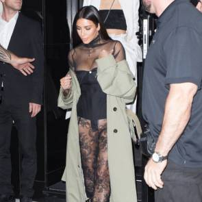 Kim Kardashian getting out from restaurant with no panties