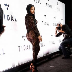 Nicki Minaj Almost Naked In Mesh Costume
