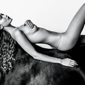 Gigi Hadid naked lying on a horse