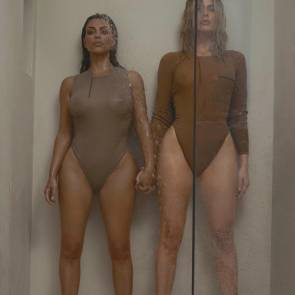 Kim And Khloe Kardashian Nipples See Through Bikini