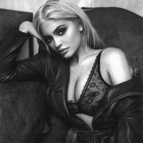 Kylie Jenner boobs in see through bra