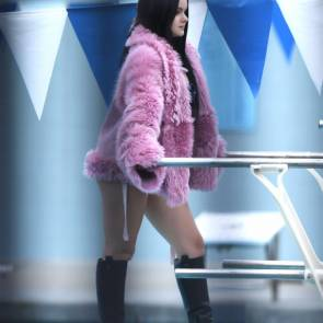 ariel winter in pink coat and long boots