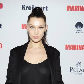 Bella Hadid nipples in see through black top