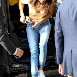 Kendall Jenner braless getting out of car