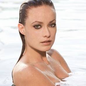 Olivia Wilde bare shoulders in water
