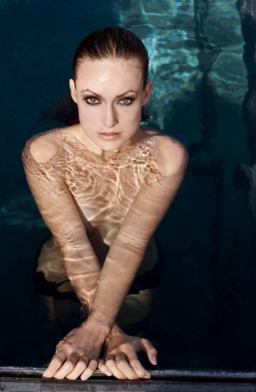 Olivia Wilde only in panties in water