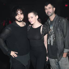 Rose McGowan nipples in see through in NY