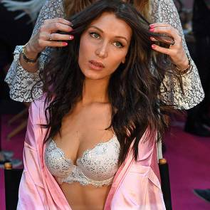 bella hadid hair styling in backstage