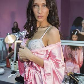 bella hadid in white bra and rose wardrobe