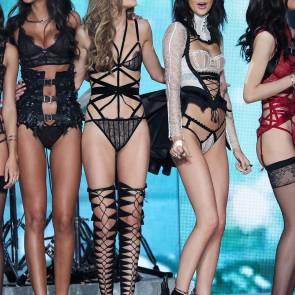 gigi hadid and kendall jenner on runway at Victoria's Secret Fashion Show 2016