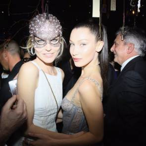 Bella Hadid see through dress at Dior Ball